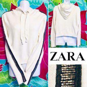 NWT Zara Knit Bead Embellished Hoodie Sweatshirt